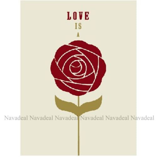 Art Romantic Red Love Is A Rose Flower Print Decorative Canvas Wall Poster