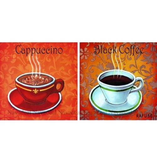 2Pc Modern Cappuccino Black Coffee Lovers Decorative Painting Canvas Wall Poster
