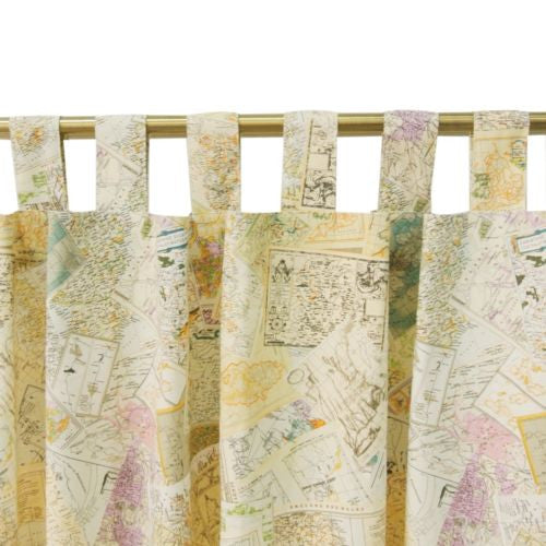 "1pc 59"" x 82"" Vintage Maps Decorative Home Cafe Curtain Window Drape"