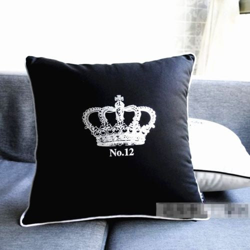 Modern Cotton Canvas Imperial Crown Black Silver Pillow Case Cushion Cover Sham