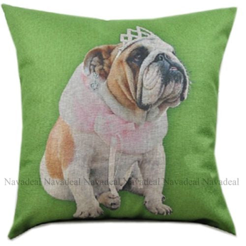 Green Crown Bulldog Puppy Rose Scarf Decorative Pillowcase Cushion Cover Sham