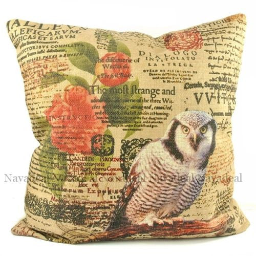 Vintage Owl Postmark Flower Country Decorative Pillow Case Cushion Cover Sham