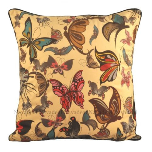 Art Vivid Colorful Floral Butterflies Fancy Decorative Pillowcase Cushion Cover