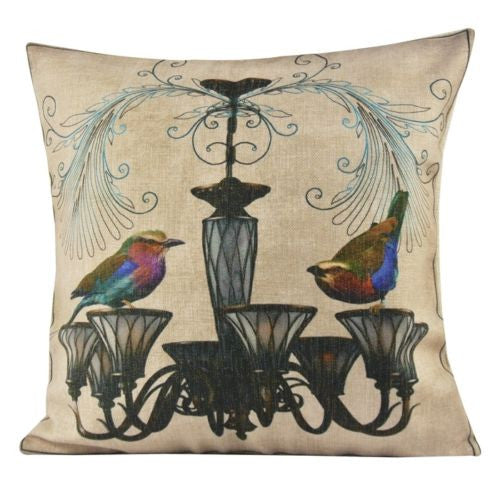 Vintage Gothic French Chandelier Floral Bird Decorative Pillowcase Cushion Cover
