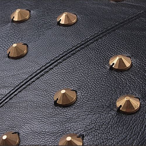 Black Rivets Pu Leather Rock Sexy Modern Decorative Pillowcase Cushion Cover