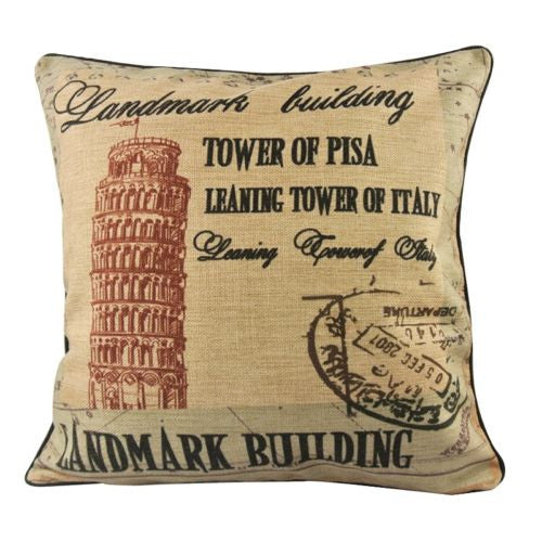 Italy Rome Landscape Pisa Tower Decorative Pillow Case Cushion Cover Sham