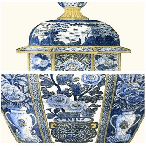 2Pc Vintage Blue Porcelain China Vase Decorative Painting Canvas Wall Art Poster