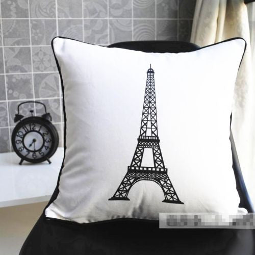 Modern White Love Pairs Eiffel Tower Pillowcase Cushion Cover