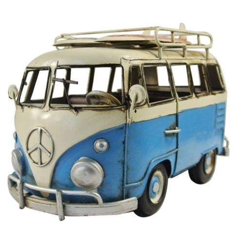 Vintage Blue White VW Van Bus Surf Board Props Metal Model Photographing Art
