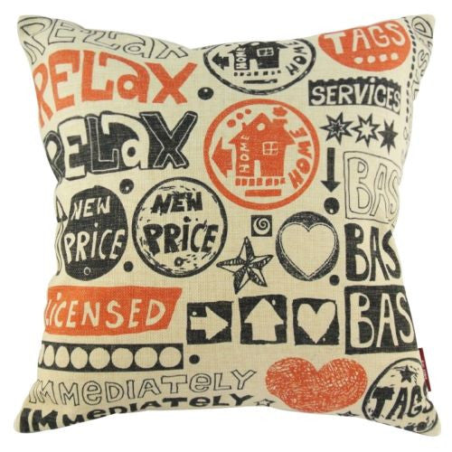 Art Graffiti Sketch City Price Tags Cartoon Decorative Pillowcase Cushion Cover
