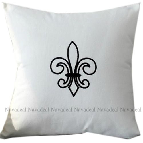 White French Fleur Flower Embroidery Decorative Pillowcase Cushion Cover Sham