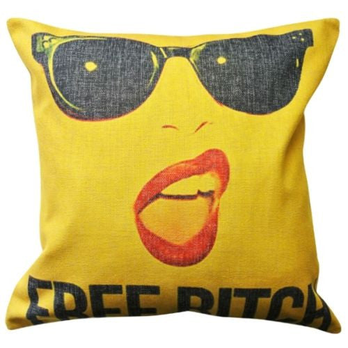 Chic Yellow Sexy Free Bitch Red Lip Sunglass Decorative Pillowcase Cushion Cover