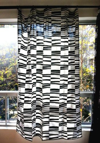 "57""x83"" Black White Zebra Chic Graphic Print Curtain Window Rod Panels Valance"