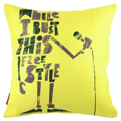 Yellow Music Robot Karaoke Mic Rock n Roll Decorative Pillowcase Cushion Cover