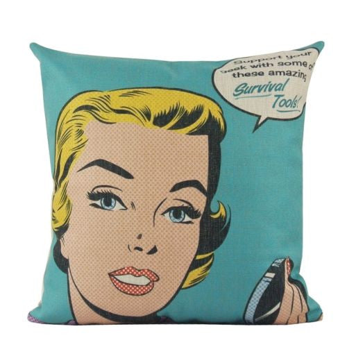 Vintage Pop Art Sexy Comic Blonde Girl Sofa Decorative Pillowcase Cushion Cover