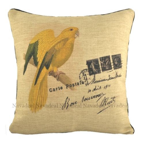 Vintage French Yellow Parrot Art Postcard Decorative Pillowcase Cushion Cover