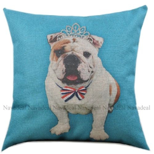Blue Bulldog Puppy UK Flag Tie Crown Decorative Pillowcase Cushion Cover Sham