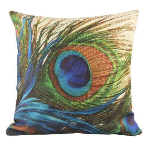 Beautiful Colourful Peacook Plumage Decorative Pillow Case Cushion Cover
