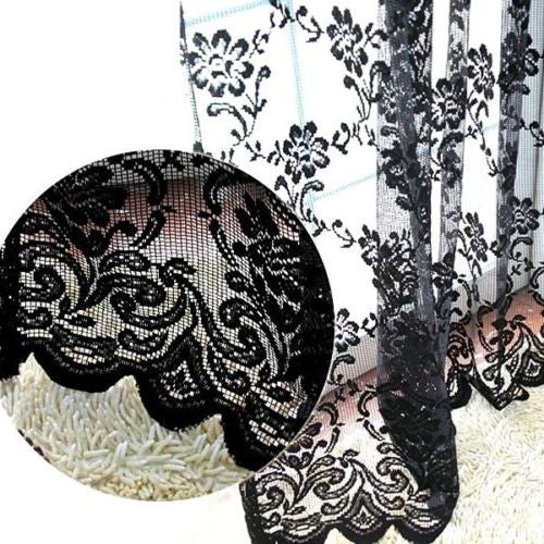 Black Sexy Rich Vintage French Lace Home Window Curtain Drape Panel Veil