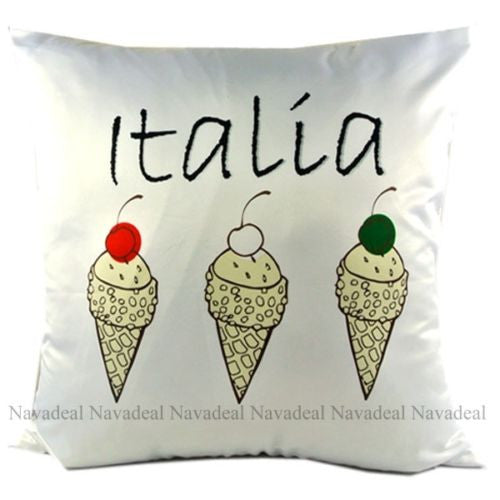 Luxury Satin Italy Italia Icecream Decorative Art Pillowcase Cushion Cover Sham
