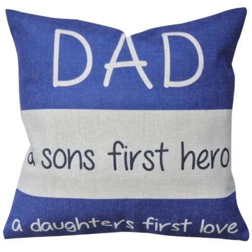Blue Cotton Linen Good Dad Son's Hero Love Decorative Pillowcase Cushion Cover