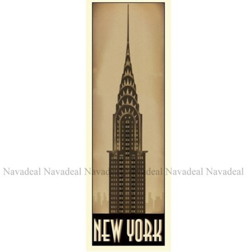 4Pc Chrysler Empire Elizabeth Eiffel Tower Building Art Decorative Canvas Poster