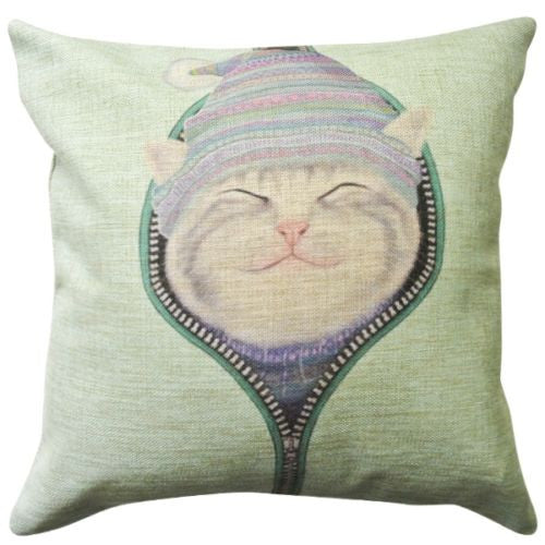 Cute Zip Smile Kitten Cat Stocking Cap Hat Decorative Pillowcase Cushion Cover