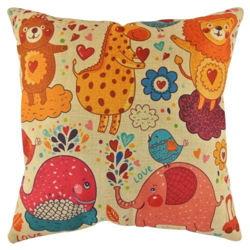 Cartoon Zoo Circus Bear Lion Giraffe Kid's Decorative Pillowcase Cushion Cover