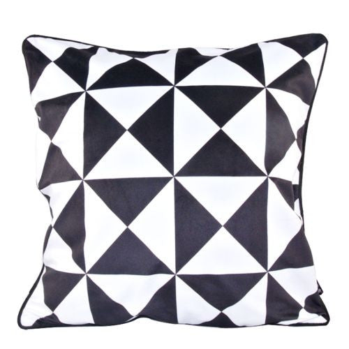 Modern Black White Triangle Square Check Decorative Pillowcase Cushion Cover