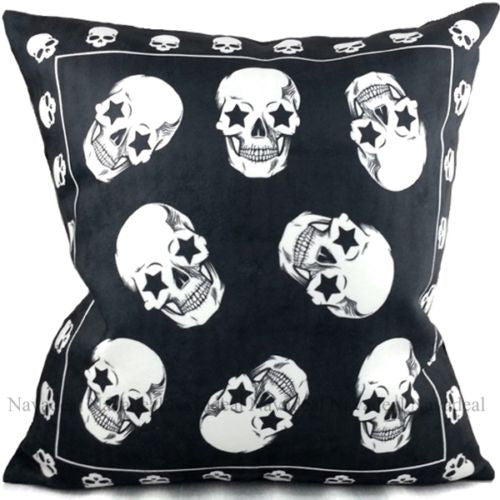 Black Fancy Skulls Punk Gothic Art Halloween Decorative Pillowcase Cushion Cover