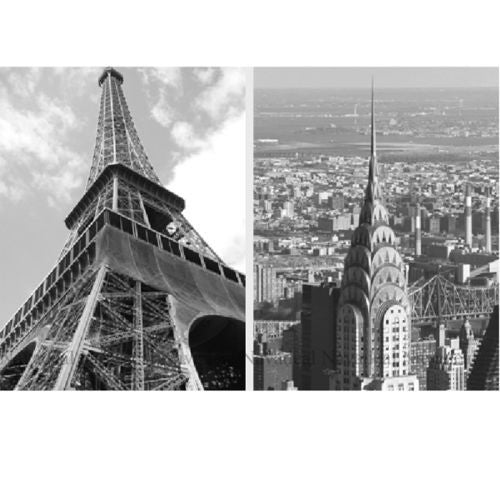 2P Photography Nyc Paris Eiffel Tower Chrysler Building Decorative Canvas Poster