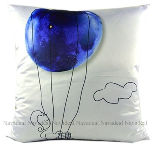 Blue Luxury Flying Earth Protection Decorative Art Pillowcase Cushion Cover Sham