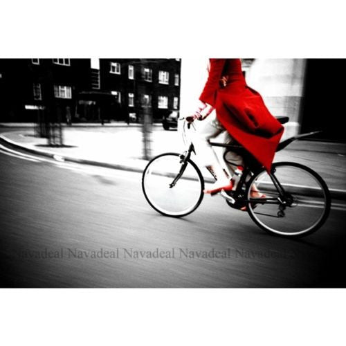 Photography Red Girl Bike Black White Street Print Decorative Canvas Wall Poster