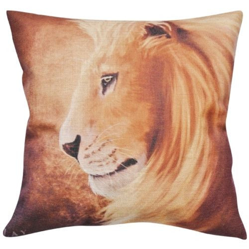 Vintage Sand African Lion King Animal Art Decorative Pillowcase Cushion Cover