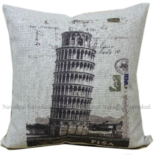 Vintage Italy Florence Tower of Pisa Decorative Pillowcase Cushion Cover Sham