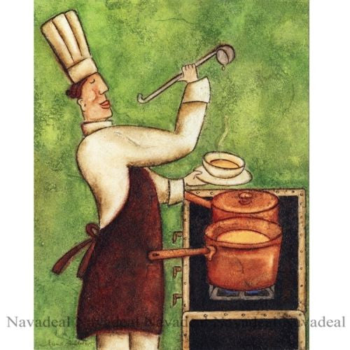 4pcs Painting Happy Restaurant Chefs Cooking Art Decorative Canvas Wall Poster