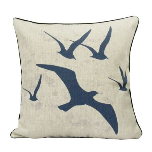 Vintage Navy Flying Seagulls Ocean Art Decorative Pillow Case Cushion Cover