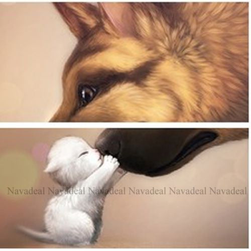 Dogs & Cats Best Friend Pet Puppy Kitten Hug Print Decorative Canvas Wall Poster