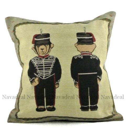 Black Army Military Bear Uniform Soldier Decorative Art Pillowcase Cushion Cover