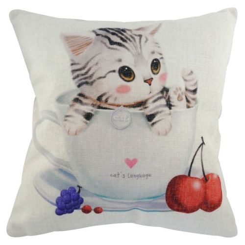 Grey Tabby Cat Tea Cup Cherry Blueberry Decorative Pillowcase Cushion Cover Sham