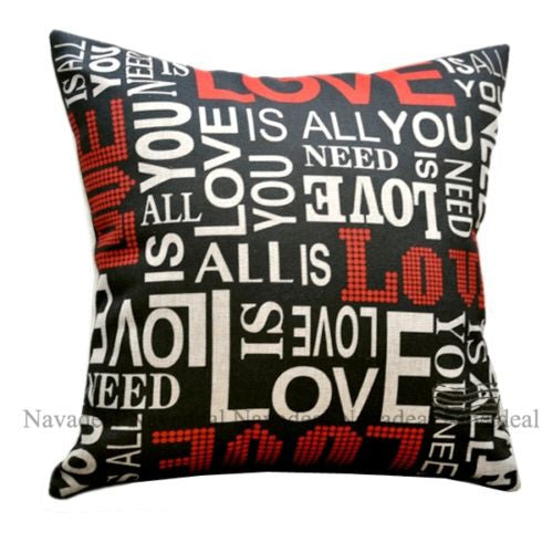 Black All You Need Is Love Beatle's Music Rock Music Pillow Case Cushion Cover