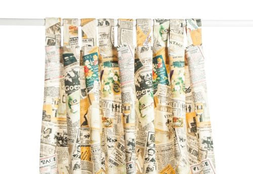 "1pc 59"" x 82"" Vintage Magazines Decorative Home Cafe Curtain Window Drape"