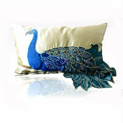 Fancy Vivid Peacock Faux Silk Decorative Lumbar Pillow Case Cushion Cover Sham