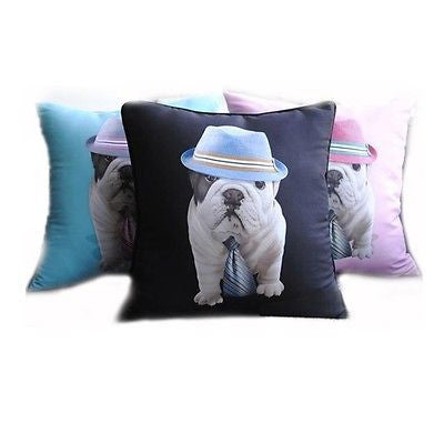 Modern Black Bulldog Hat Tie Pop Art Pillowcase Cushion Cover Sham