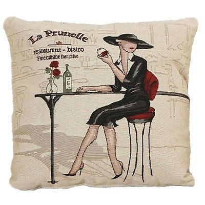 Black Dress Lady Bistro Drinks Art Decorative Pillow Case Fashion Cushion Cover