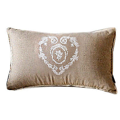 Beige Vintage Print Heart Flora Decorative Country Art Lumbar Cushion Cover