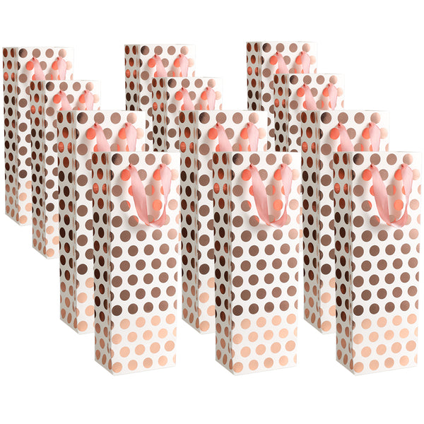 UNIQOOO 12Pcs Metallic Rose Gold Foil Wine Gift Bag Bulk, Polka Dots, w/Pink Satin Handle, 100% Recyclable Paper, 14x4.75x3.5 Inch, Bottle Carrier Tote Bags, for Wedding, Birthday Party Gift Wrapping