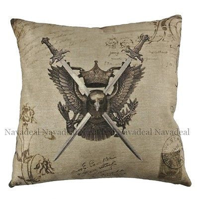 Vintage Eagle Crown Game Thron Swords  Decorative Pillow Case Cushion Cover