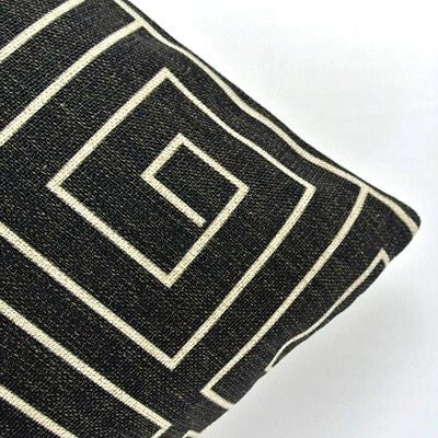 Classic Black White Geometric Square Spiral Art Pillow Case Cushion Cover