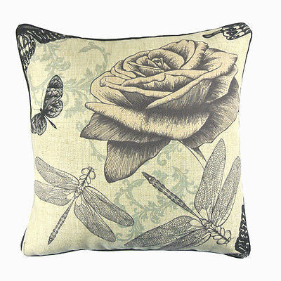 Vintage Sketch Art Rose Dragonfly Butterfly Decorative Pillow Case Cushion Cover